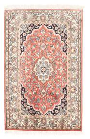 Kashmir Puur Zijde Vloerkleed 63X97 Echt Oosters Handgeknoopt Beige/Donkerbeige (Zijde, India)