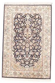 Kashmir Puur Zijde Vloerkleed 63X97 Echt Oosters Handgeknoopt Wit/Creme/Lichtgrijs (Zijde, India)
