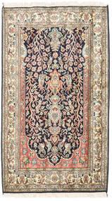 Kashmir Puur Zijde Vloerkleed 83X126 Echt Oosters Handgeknoopt Beige/Donkerpaars (Zijde, India)