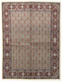 Moud Vloerkleed 150X197 Echt Oosters Handgeknoopt Lichtgrijs/Donkerbruin (Wol/Zijde, Perzië/Iran)