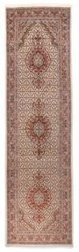 Tabriz 40 Raj Vloerkleed 85X310 Echt Oosters Handgeknoopt Tapijtloper Beige/Donkerrood (Wol/Zijde, Perzië/Iran)