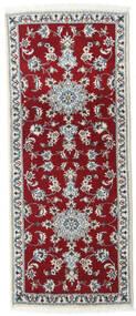 Nain Vloerkleed 80X200 Echt Oosters Handgeknoopt Tapijtloper Donkerrood/Rood (Wol, Perzië/Iran)