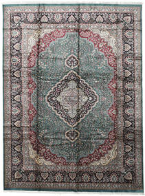 Kashmir Art. Zijde Vloerkleed 274X368 Echt Oosters Handgeknoopt Lichtgrijs/Donkergrijs Groot ( India)