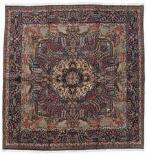 Kerman Vloerkleed 242X246 Echt Oosters Handgeknoopt Vierkant Donkerblauw/Zwart (Wol, Perzië/Iran)