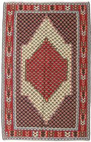 Kelim Senneh Vloerkleed 127X202 Echt Oosters Handgeweven Donkerbruin/Donkerrood (Wol, Perzië/Iran)