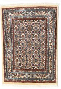 Moud Vloerkleed 62X85 Echt Oosters Handgeknoopt Beige/Donkerbruin (Wol/Zijde, Perzië/Iran)