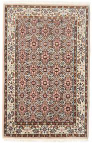 Moud Vloerkleed 57X90 Echt Oosters Handgeknoopt Donkerbruin/Lichtbruin (Wol/Zijde, Perzië/Iran)