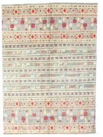 Kazak Vloerkleed 142X199 Echt Oosters Handgeknoopt Beige/Lichtgrijs (Wol, Pakistan)