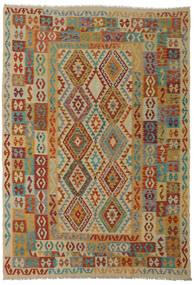 Kelim Afghan Old Style Vloerkleed 206X295 Echt Oosters Handgeweven Donkerrood/Lichtbruin (Wol, Afghanistan)