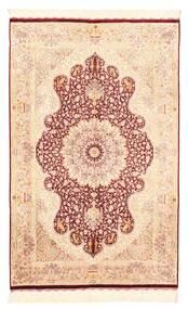 Ghom Zijde Vloerkleed 98X152 Echt Oosters Handgeknoopt Donkerbeige/Lichtroze (Zijde, Perzië/Iran)