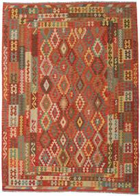 Kelim Afghan Old Style Vloerkleed 249X344 Echt Oosters Handgeweven Oranje/Donkerbeige (Wol, Afghanistan)