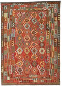 Kelim Afghan Old Style Vloerkleed 246X349 Echt Oosters Handgeweven Roestkleur/Donkergrijs (Wol, Afghanistan)