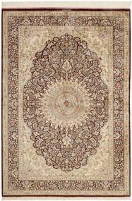 Ghom Zijde Vloerkleed 134X196 Echt Oosters Handgeweven Beige/Bruin (Zijde, Perzië/Iran)