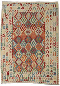 Kelim Afghan Old Style Vloerkleed 250X349 Echt Oosters Handgeweven Lichtgrijs/Donkerrood Groot (Wol, Afghanistan)