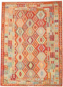 Kelim Afghan Old Style Vloerkleed 246X335 Echt Oosters Handgeweven Donkerbeige/Rood (Wol, Afghanistan)