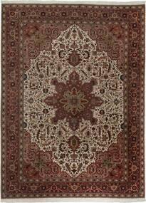 Tabriz 50 Raj Vloerkleed 300X400 Echt Oosters Handgeweven Donkerrood/Bruin Groot (Wol/Zijde, Perzië/Iran)