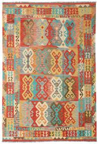 Kelim Afghan Old Style Vloerkleed 204X300 Echt Oosters Handgeweven Donkerbeige/Rood (Wol, Afghanistan)