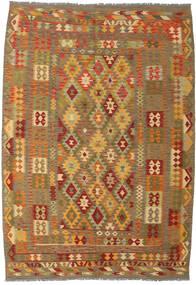 Kelim Afghan Old Style Vloerkleed 206X298 Echt Oosters Handgeweven Lichtbruin/Bruin (Wol, Afghanistan)