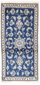 Nain Vloerkleed 70X135 Echt Oosters Handgeknoopt Lichtgrijs/Donkerblauw (Wol, Perzië/Iran)