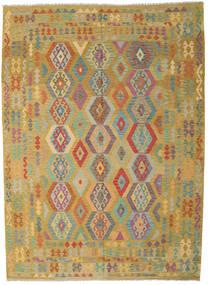 Kelim Afghan Old Style Vloerkleed 246X343 Echt Oosters Handgeweven Olijfgroen/Bruin (Wol, Afghanistan)