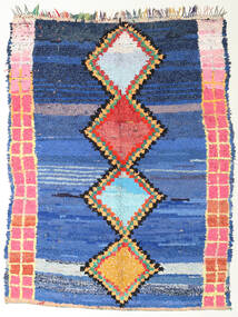 Berber Moroccan - Boucherouite Vloerkleed 172X220 Echt Modern Handgeknoopt Blauw/Donkerblauw ( Marokko)