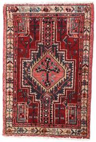 Hamadan Vloerkleed 59X88 Echt Oosters Handgeknoopt Donkerrood/Donkerbruin (Wol, Perzië/Iran)