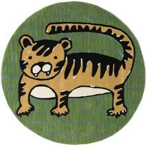 Cool Cat - Geel Vloerkleed Ø 150 Modern Rond Donkergroen/Olijfgroen (Wol, India)