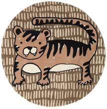 Cool Cat - Beige Vloerkleed Ø 150 Modern Rond Bruin/Lichtbruin (Wol, India)