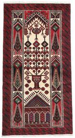 Beluch Vloerkleed 95X175 Echt Oosters Handgeknoopt Donkerrood/Donkerbruin (Wol, Perzië/Iran)