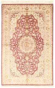 Ghom Zijde Vloerkleed 130X200 Echt Oosters Handgeknoopt Beige/Lichtroze (Zijde, Perzië/Iran)