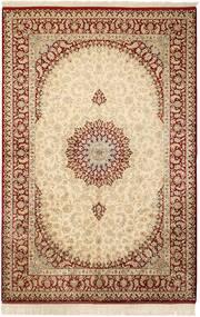 Ghom Zijde Vloerkleed 132X201 Echt Oosters Handgeknoopt Beige/Lichtbruin (Zijde, Perzië/Iran)