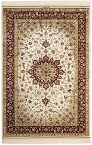 Ghom Zijde Vloerkleed 132X197 Echt Oosters Handgeknoopt Beige/Bruin (Zijde, Perzië/Iran)