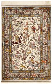 Ghom Zijde Vloerkleed 98X148 Echt Oosters Handgeknoopt Beige/Bruin (Zijde, Perzië/Iran)