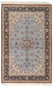 Isfahan Zijden Pool Vloerkleed 159X246 Echt Oosters Handgeweven Lichtgrijs/Donkerbruin (Wol/Zijde, Perzië/Iran)