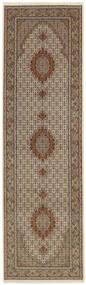 Tabriz 50 Raj Vloerkleed 91X303 Echt Oosters Handgeweven Tapijtloper Lichtgrijs/Bruin (Wol/Zijde, Perzië/Iran)