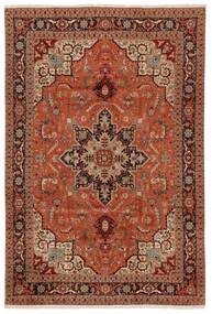 Tabriz 50 Raj Vloerkleed 203X304 Echt Oosters Handgeknoopt Donkerbruin/Rood (Wol/Zijde, Perzië/Iran)