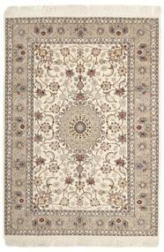 Isfahan Zijden Pool Vloerkleed 130X182 Echt Oosters Handgeweven Lichtgrijs/Beige (Wol/Zijde, Perzië/Iran)