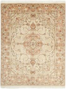 Tabriz 50 Raj Vloerkleed 151X197 Echt Oosters Handgeweven Beige/Donkerbeige (Wol/Zijde, Perzië/Iran)