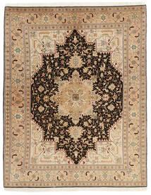 Tabriz 50 Raj Vloerkleed 150X200 Echt Oosters Handgeweven Donkerbeige/Lichtbruin (Wol/Zijde, Perzië/Iran)