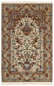 Isfahan Zijden Pool Vloerkleed 130X201 Echt Oosters Handgeweven Beige/Donkerbruin/Bruin (Wol/Zijde, Perzië/Iran)