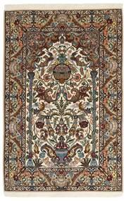 Isfahan Zijden Pool Vloerkleed 127X200 Echt Oosters Handgeknoopt Donkerbruin/Lichtbruin/Bruin (Wol/Zijde, Perzië/Iran)