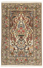 Isfahan Zijden Pool Vloerkleed 106X161 Echt Oosters Handgeknoopt Beige/Bruin (Wol/Zijde, Perzië/Iran)