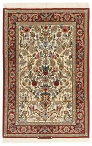 Isfahan Zijden Pool Vloerkleed 105X161 Echt Oosters Handgeweven Lichtbruin/Beige (Wol/Zijde, Perzië/Iran)