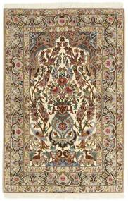 Isfahan Zijden Pool Vloerkleed 104X162 Echt Oosters Handgeweven Donkerbeige/Bruin (Wol/Zijde, Perzië/Iran)