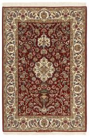 Isfahan Zijden Pool Vloerkleed 111X163 Echt Oosters Handgeweven Donkerbruin/Lichtbruin (Wol/Zijde, Perzië/Iran)