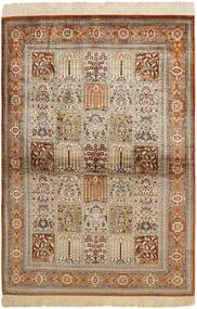 Ghom Zijde Vloerkleed 102X150 Echt Oosters Handgeweven Bruin/Lichtgrijs (Zijde, Perzië/Iran)