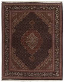Tabriz 50 Raj Vloerkleed 158X200 Echt Oosters Handgeknoopt Zwart/Donkerbruin (Wol/Zijde, Perzië/Iran)