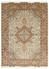 Tabriz 50 Raj Vloerkleed 151X213 Echt Oosters Handgeweven Bruin/Beige (Wol/Zijde, Perzië/Iran)