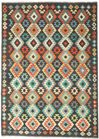 Kelim Afghan Old Style Vloerkleed 177X247 Echt Oosters Handgeweven Zwart/Lichtgrijs (Wol, Afghanistan)