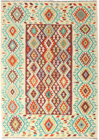 Kelim Afghan Old Style Vloerkleed 205X289 Echt Oosters Handgeweven Donkerbeige/Beige (Wol, Afghanistan)